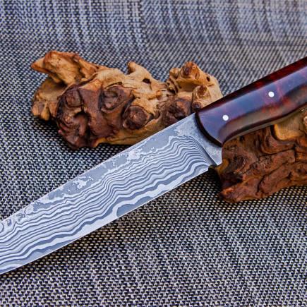 Damastmesser mit Wüsteneisenholzgriff